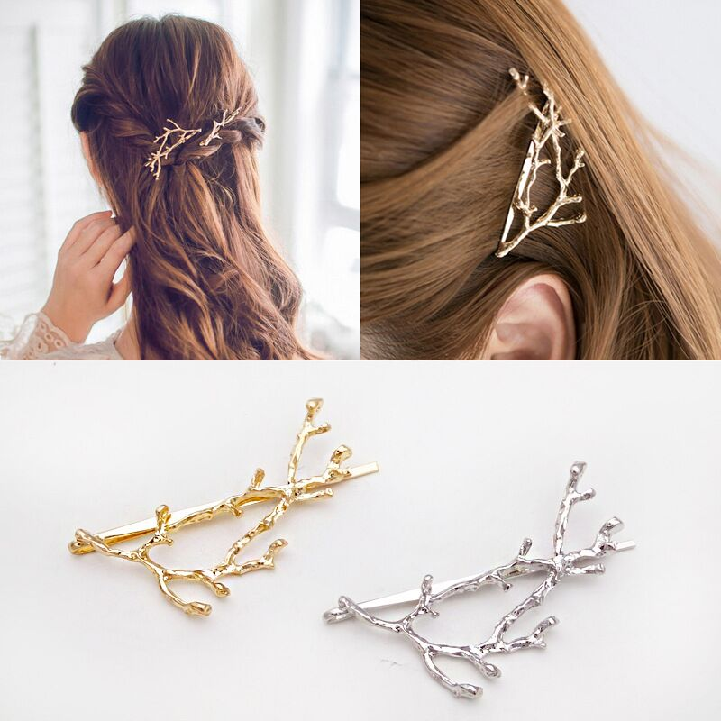 1pcs Fashion Vintage Metal Gold Silver Tree Hair Clips Barrettes Hairpins Headwear Hair Pins Hair Accessories For Women Girl