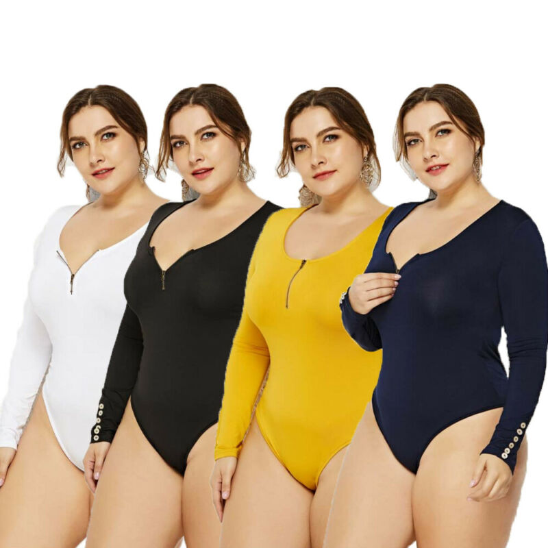 2019 New Arrival Sexy Plus Size Women Long Sleeve Bodycon Bodysuit White Black Skinny Body Suits Stretch Zipper Ladies Tops 5XL