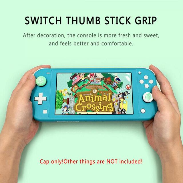 4PCS Easy Install Animal Crossing Leaf Silicone Thumb Grips Cap Game Rocker Protective Caps For Nintendo Switch/ Switch Lite