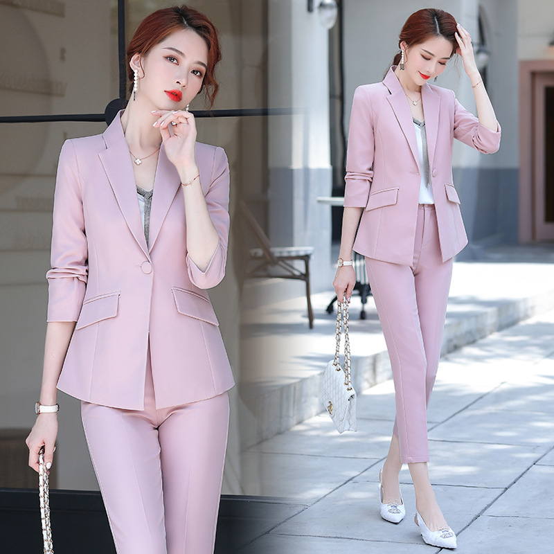 High-quality professional Blazer pants two-piece set work clothes 2020 new autumn women's casual women's jacket Slim trousers