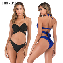 New Sexy Cross Waist Bandage Bikini Women Swimsuit Solid Color Bathing Suit S-XL Girl Backless Halter Swimwear String Set