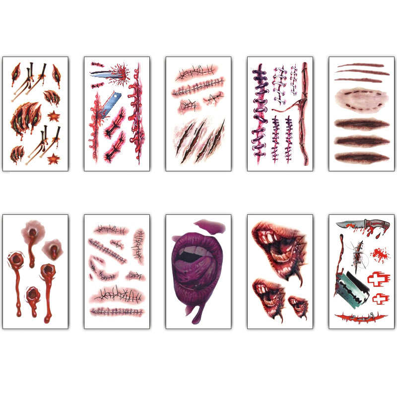 Halloween Terror Wound Realistic Blood Injury Scar Fake Tattoo Sticker Bloody Makeup Waterproof Temporary Tattoo Sticker