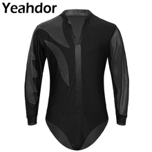 Men Adult Latin Dance Shirt Tops V neck Side Shiny Rhinestones Long Sleeve Ballroom Tango Rumba Dance Shirt Leotard Bodysuit