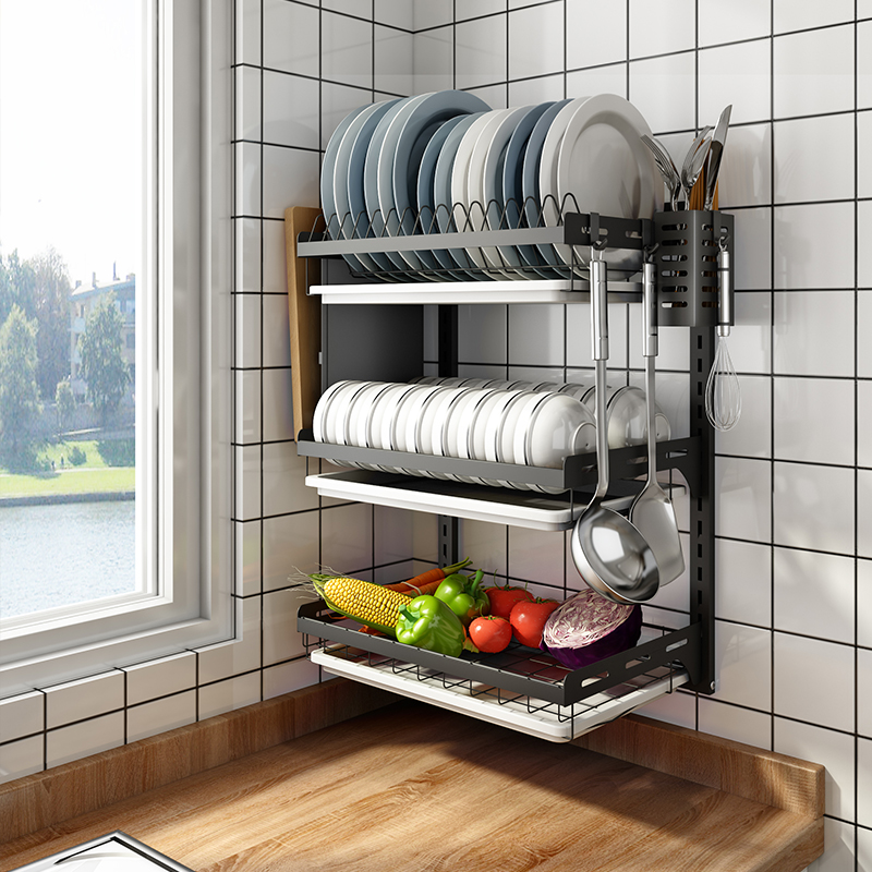 Dish drain rack wall-mounted kitchen rack free punching stainless steel household tableware storage box drain dish rack