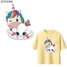 ZOTOONE Cartoon Unicorn Patches Cute Animal Sticker for Kids Iron on Transfers Clothes T-shirt DIY Heat Transfer Appliques G
