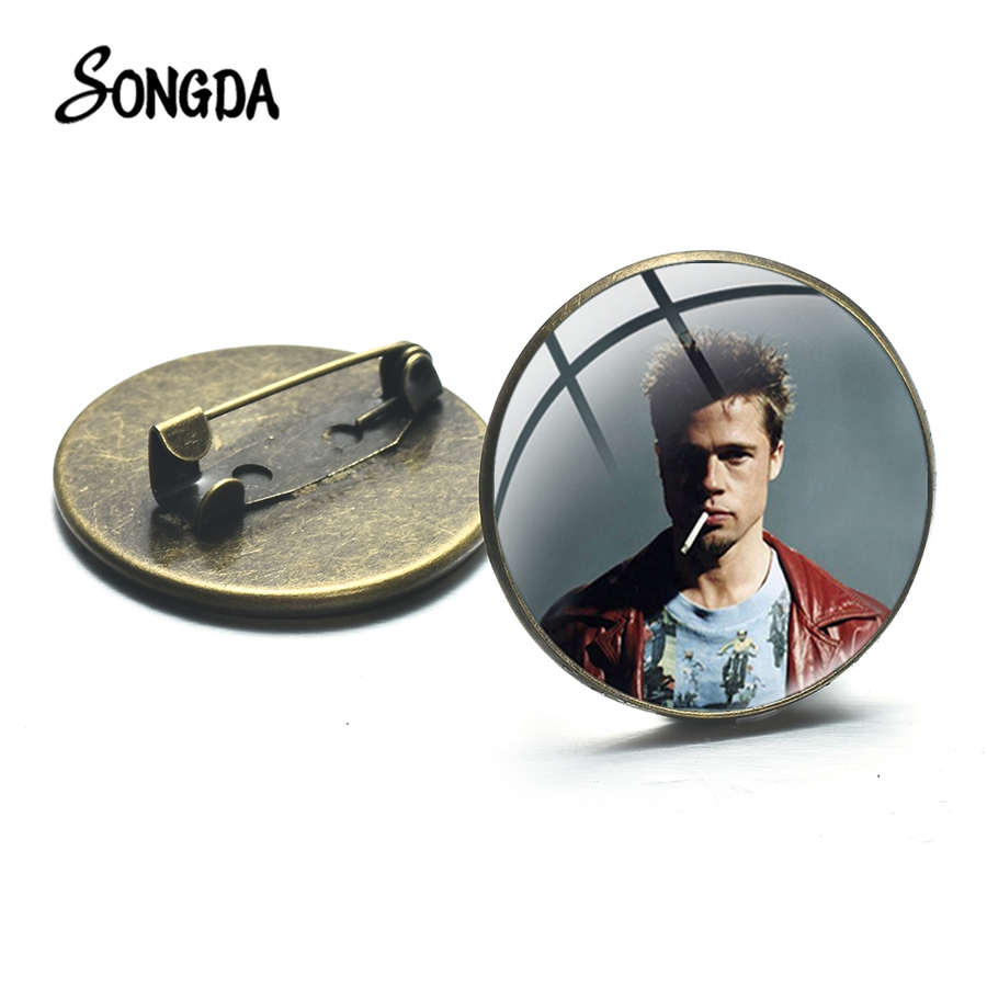 SONGDA Classic Fight Club Mystery Thriller Movie Brooches Jack Tyler Vintage Photo Glass Cabochon Mens Brooch Clothes Lapel Pin image