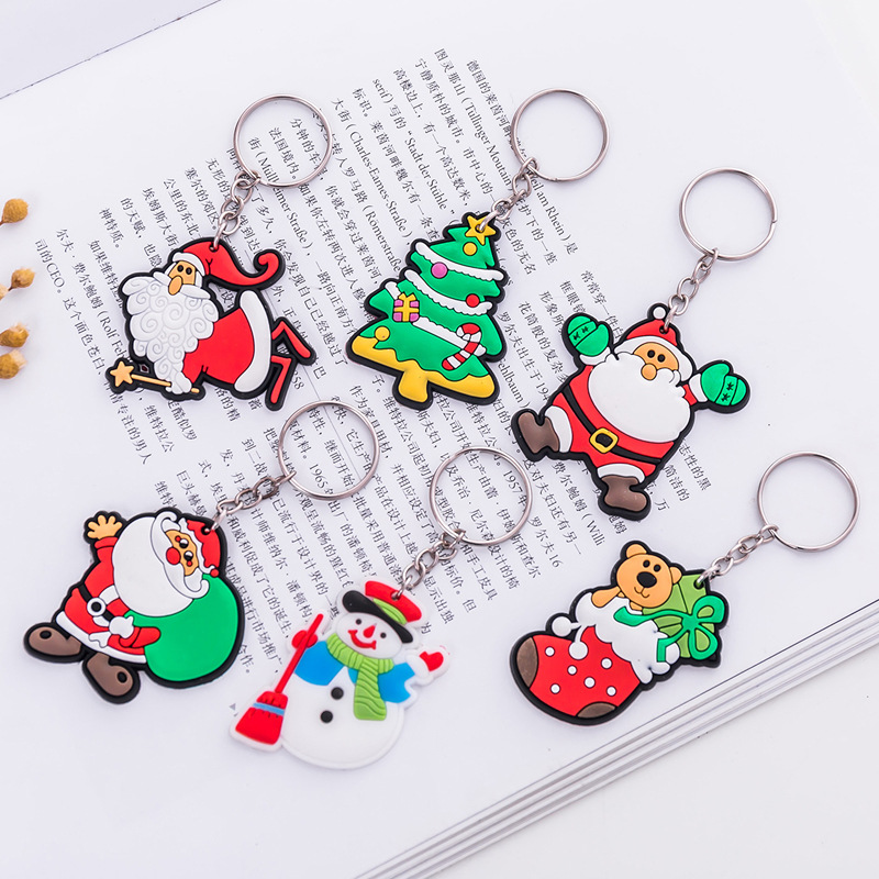 1PC Christmas Tree Ornament Hanging Pendants Gifts Cartoon Santa Claus Snowman Christmas Decora Adornos De Navidad Keyring Gifts