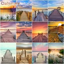 Gatyztory diy живопись по номерам деревянный мост краска для