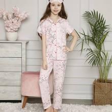 Female Child Pink Leaf Print Front Button Short Sleeve Pajamas set
