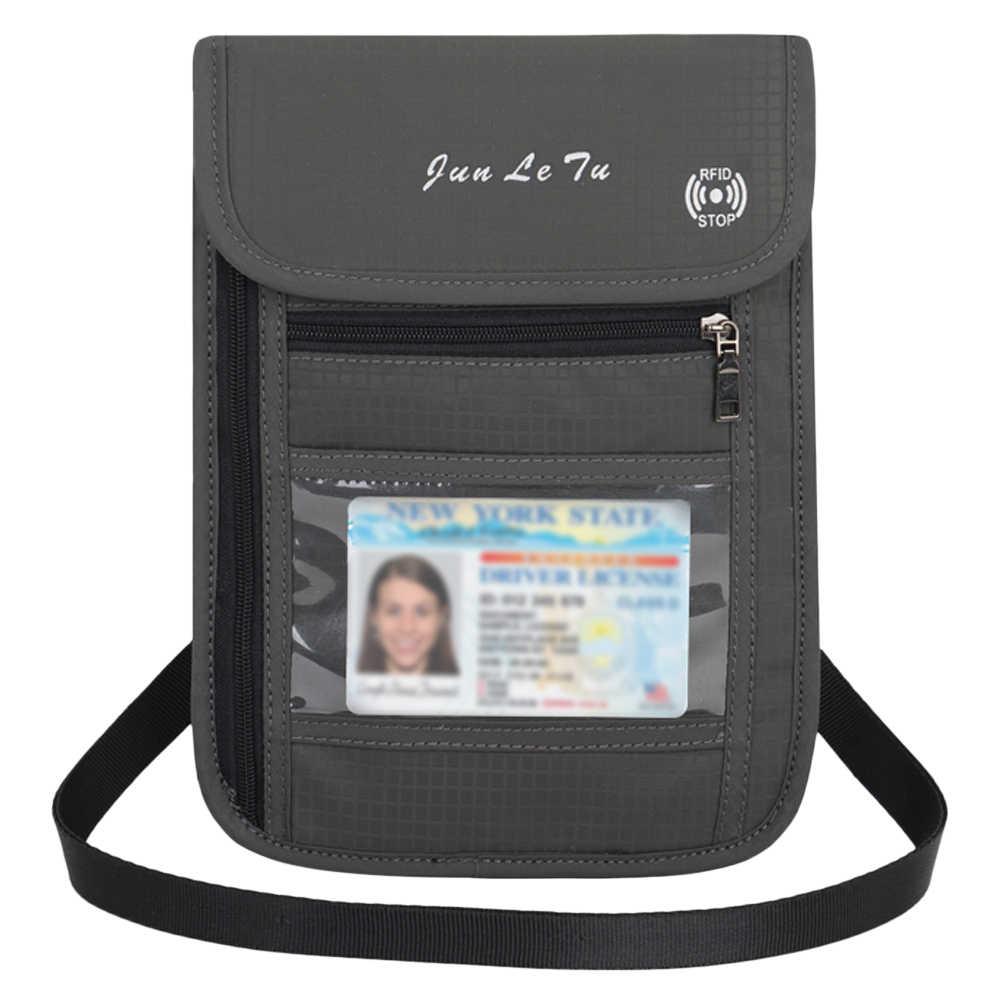 Lixada cuello bolsa cartera llave bolsa con bloqueo RFID para hombres mujeres pasaporte soporte documento organizador tarjeta bolsa