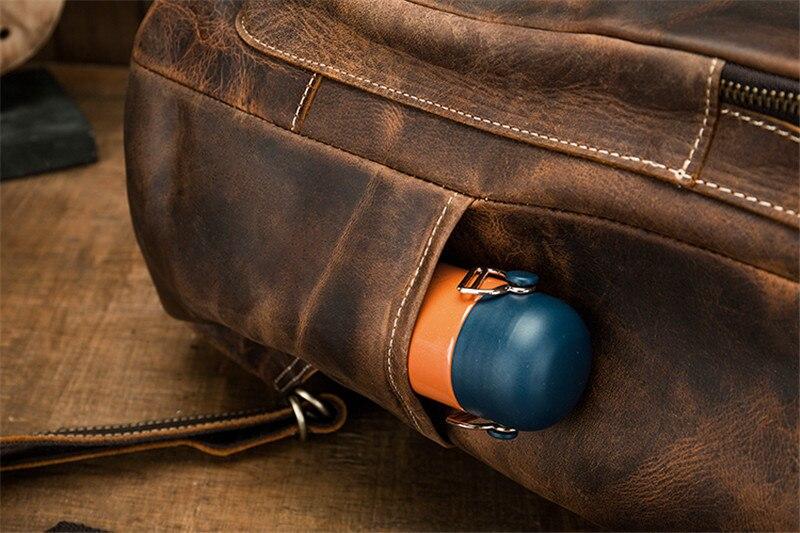couro masculino grande-capacidade mochila casual couro genuíno
