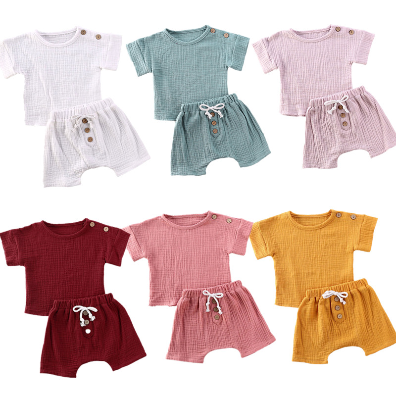 New 0-24M Baby Girls Boys Botton Clothes Outfits Cotton Summer Kids Short Sleeve Tops T-Shirts+Shorts Suits
