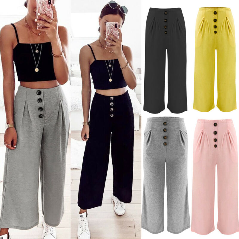 Goocheer New Womens Cotton Linen Wide Leg High Elastic Waist Summer Pants Loose Trousers