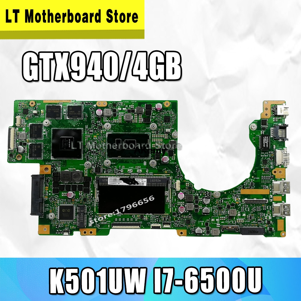 K501UW Laptop Motherboard For ASUS K501UW K501UWK K501U K501 Test Original Mainboard DDR4-8G-RAM I7-6500U GTX940/4GB Graphic