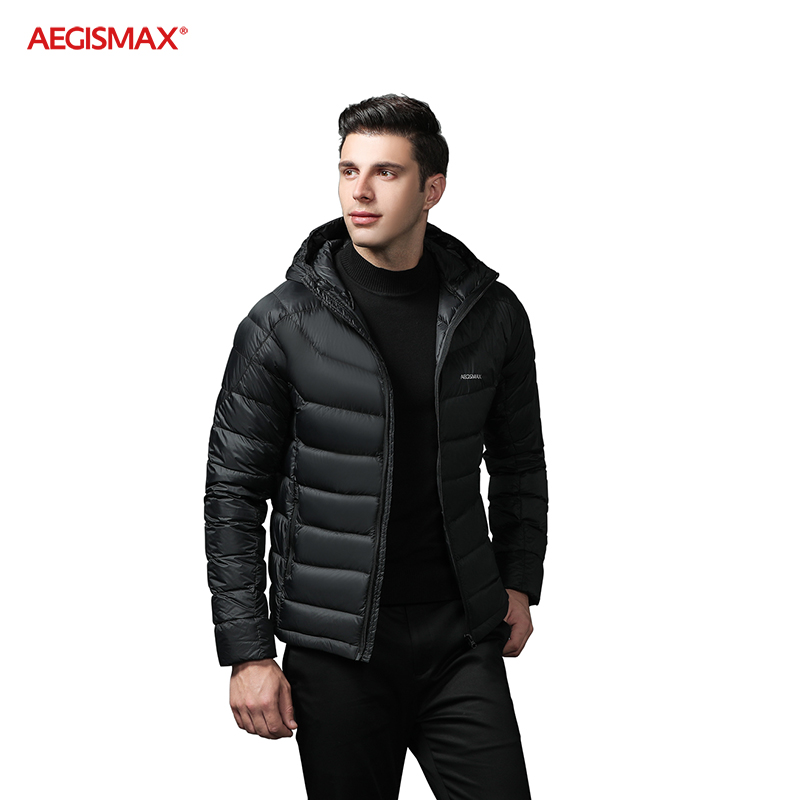 AEGISMAX 95% White Goose Down Jacket Men Ultralight Hooded Warm Coat Wind Protection Solid Color For Outdoor Hiking Camping Ski