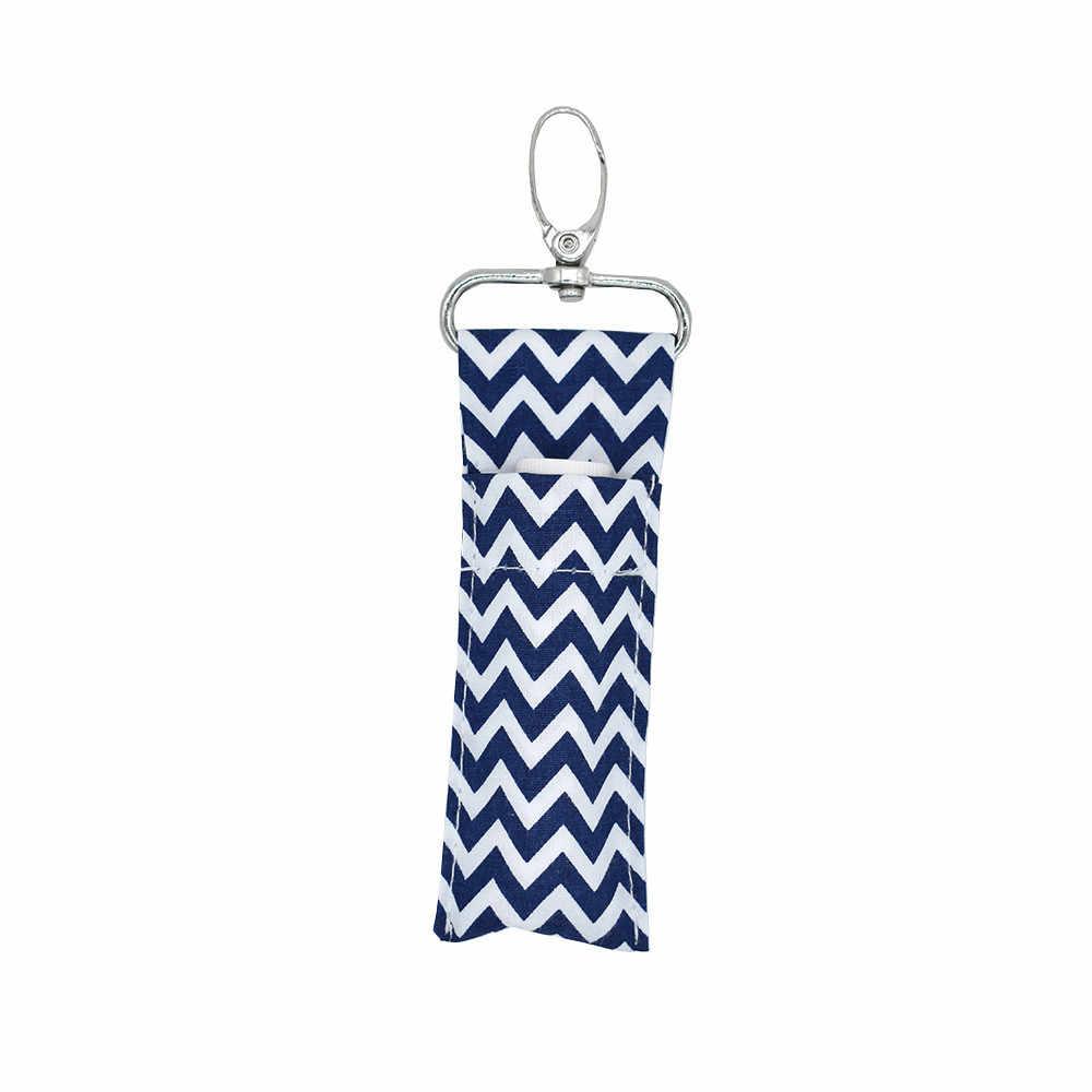 אחסון Chapstic שפתון מחזיק פאוץ תיק מפתח טבעת הדפסת Keychain מתנת ילדה