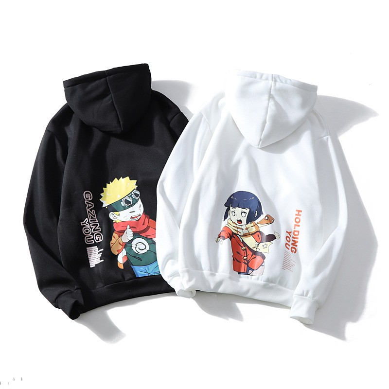 Harajuku Naruto Hinata Unisex Hoodies Couple Wear Japanese Anime Printed Men's Hoodie Male Streetwear Fashion Casual Sweatshirts