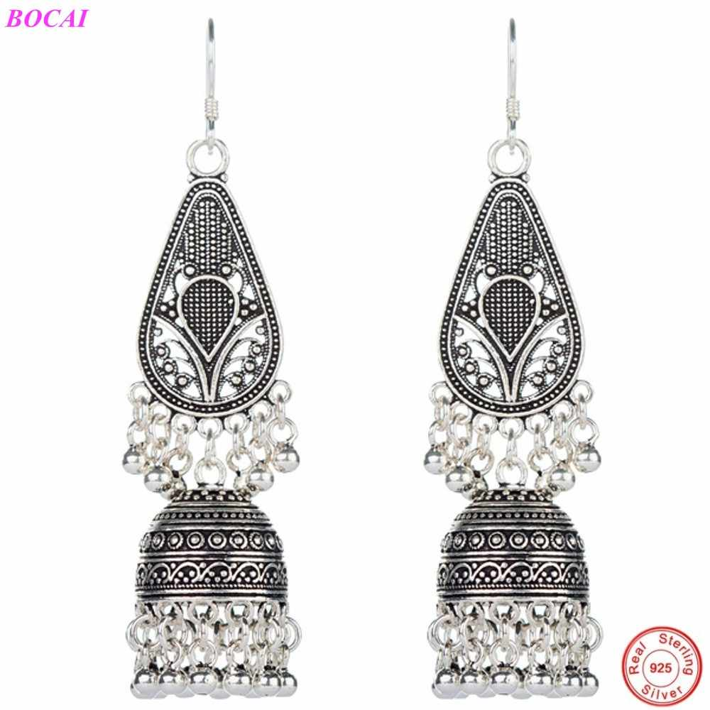 Solide 925 Silber Natürliche Perle Lange Tropfen Ohrringe für Frauen Schmuck