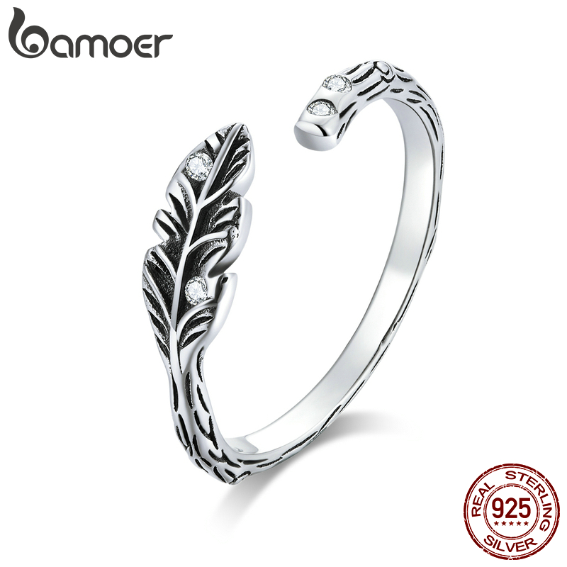 Bamoer Authentic 925 Sterling Silver Feather Open Finger Rings For Women Free Size Band Bijoux Fashion Bague 2020 SCR639