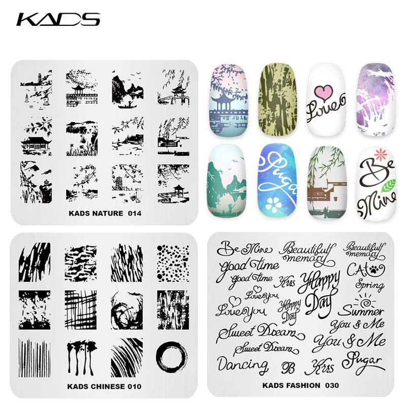 KADS Nail Art Template 36 Designs Chinese Style Ink-painting Wordart Image Template Nail Stamping Plate Nail Art Stencils