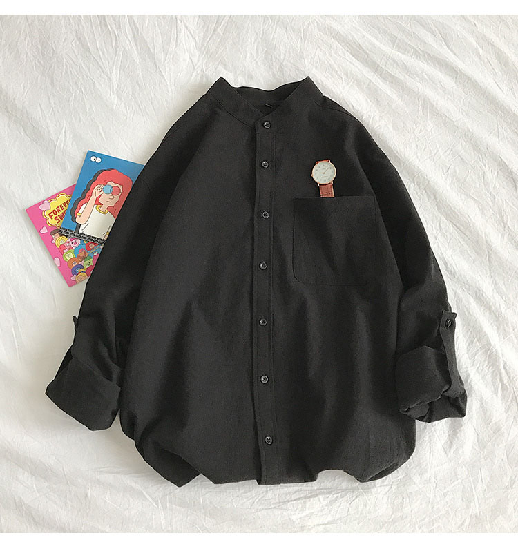 H742178f5af054cfc87910f62e2830ecbz Simple Design Solid Colors Long Sleeve Shirts Korean Fashion Mandarin Collar 100% Cotton White Black Shirt Soft and Comfort