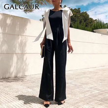 GALCAUR Patchwork Hit Color Backless Jumpsuits For Women O N