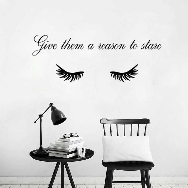 Beauty Salon Make Up Art Wall Sticker Eyelashes Quotes Home Decoration Vinyl Art Girls Design Home Decor Poster Mural W569 in Wall Stickers from Home Garden
