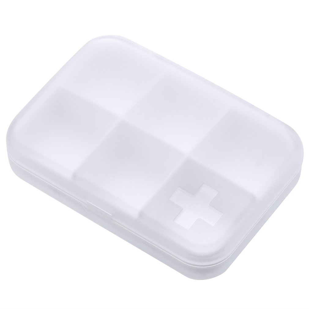 Tiny Clear Pill Box Portable Travel Vitamin Case Storage Organizer With Six Compartment Pills Container