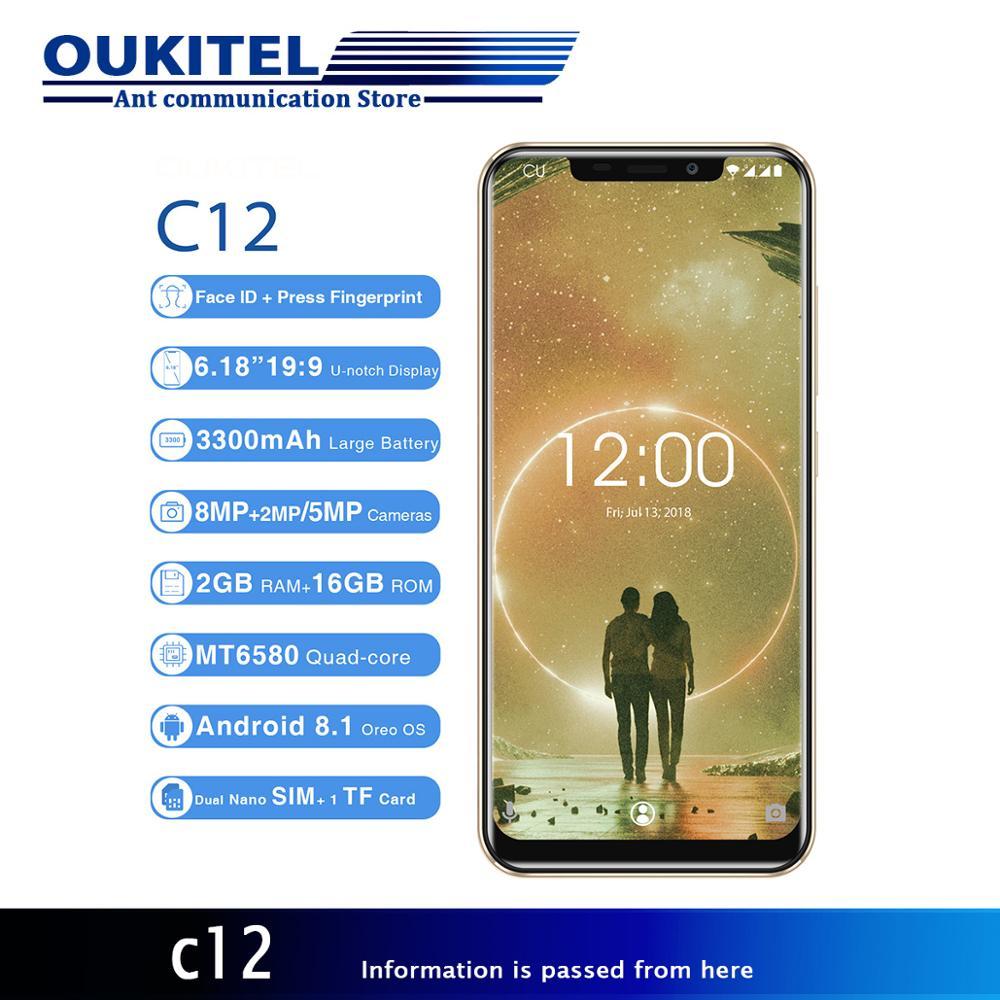 """Смартфон OUKITEL C12 3g 6,18 """"четырехъядерный процессор 1. 3g Hz 2 ГБ + 16 Гб 8MP + 0.3MP Лицо ID нажмите отпечаток пальца мобильный телефон Android 8,1 MT6580"""