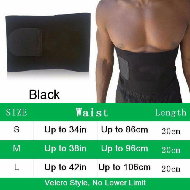 Unisex Gym Waist Belt Women Mens Sweat Wrap Tummy Stomach Exercise Weight Loss Fat Burner Sauna Slim Shaper 3