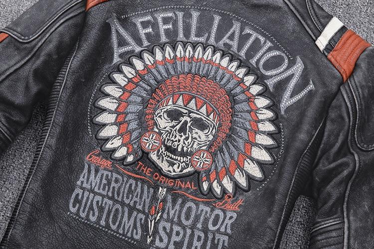H74219d4887544d7fb5443544f606dc25p 2019 Vintage Black Men Leather Motorcyclist Jacket Skull Embroidery Plus Size 3XL Genuine Cowhide Short Biker Coat FREE SHIPPING