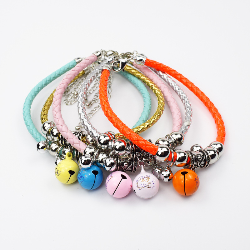 Pet Collar With Bell Cat Dog Accessories Necklace PU Rope Collar Hand-made Ethnic-Style Neck Ring