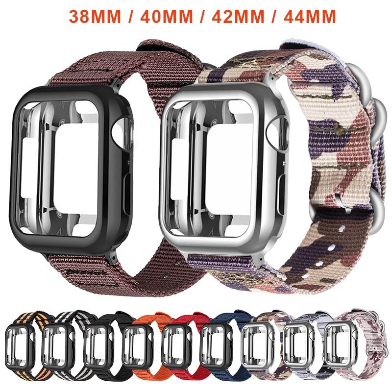 Nylon Sport strap+Case For apple watch 5 4 3 2 1 series 42mm 44mm band Apply to Iwatch 38mm 40mm Wrist bracelet Case accessories Pakistan