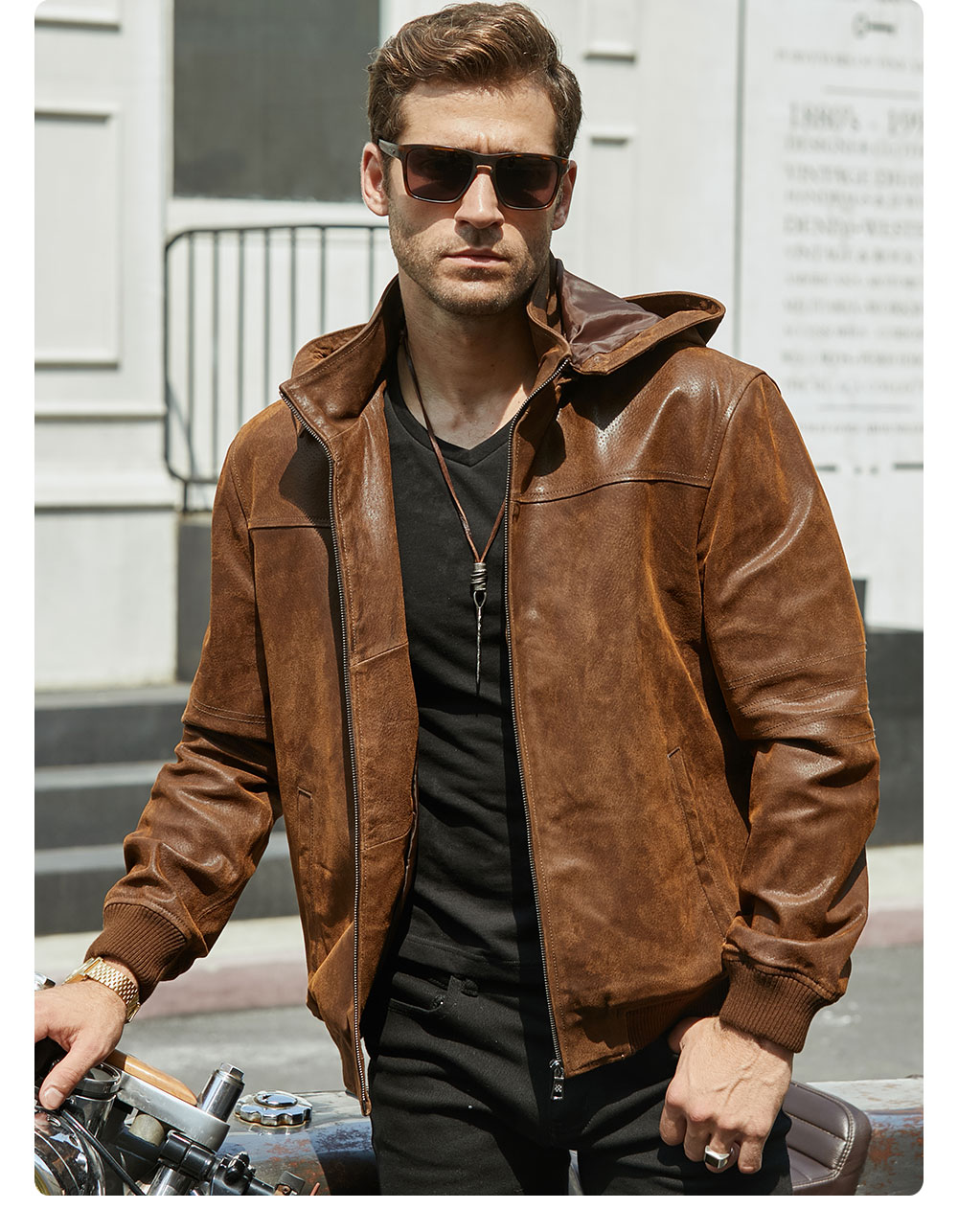 H74220d6941424012aea62c2d1f2994dbp New Men's Winter Jacket Made Of Genuine Pigskin Leather With A Hood, Pigskin Motorcycle Jacket, Natural Leather Jacket