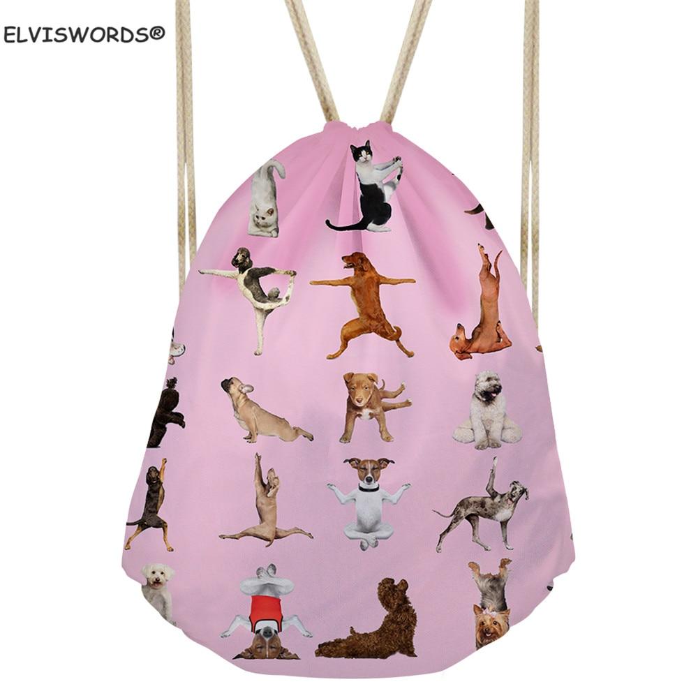 ELVISWORDS Cartoon Yoga Pet Dog Printed Drawstring Bags Sport Yoga Bags School Backpacks For Student Ladies Shopping Cloth Bags