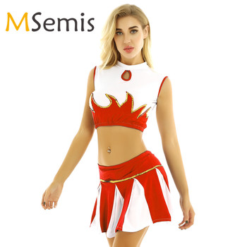 Women's Cheerleader Costumes Outfit Mock Neck Sleeveless Cheerleading Crop Top with Pleated Skirt Cheerleading Sports Uniforms anime lovelive card sr minami kotori cheerleading uniforms cosplay costume girls school cheerleading uniforms stocking gloves