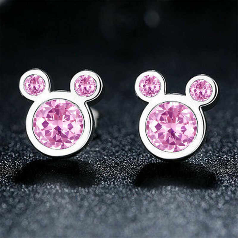 Cute Anting-Anting Mickey Anting-Anting untuk Gadis Stainless Steel Stud Anting-Anting Perak Anting-Anting Aretes De Mujer Modernos 2020