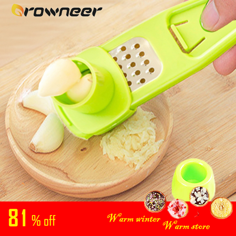 Stainless Steel PP Garlic Presses Ginger Cutter Candy Color Plastic Grinding Tool Microplaner Planer Kitchen Grater Grinder(China)