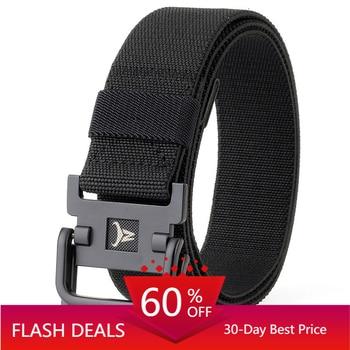 Elastic Army Belt Men Combat Tactical Designer Belts For Jeans Pants 2 Ring Buckles Solid Casual Nylon Strap Canvas Waist Belt