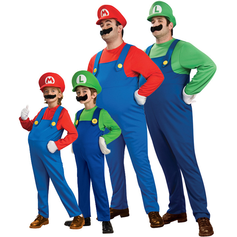 Super Mario Luigi laste ja täiskasvanute tegelaskuju kostüüm / punane ja roheline variant