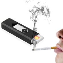 Electronic USB Cigarette Lighter Windproof Ultra-thin No Gas USB Rechargeable Fl