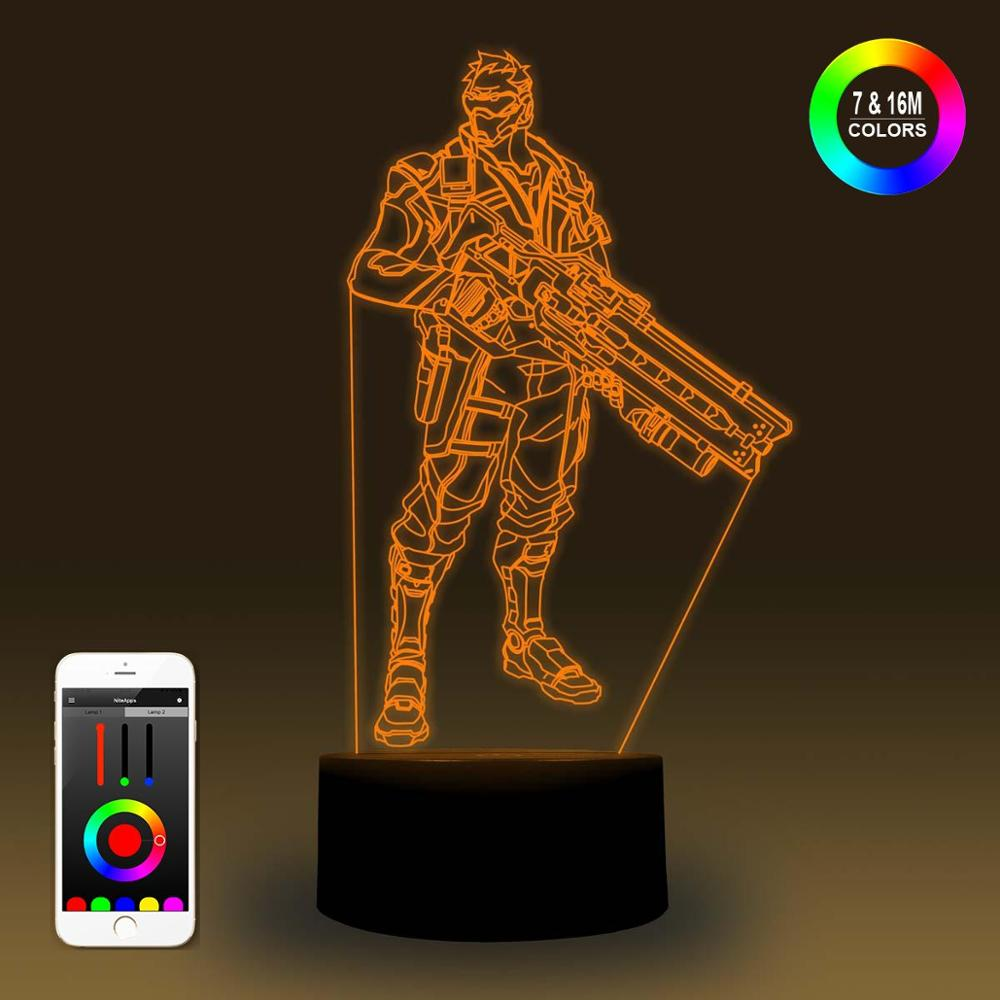 NiteApps 3D Overwatch Soldier Night Light Desk Table Illusion Decoration Lamp Holiday Birthday Gift APP/Touch Control