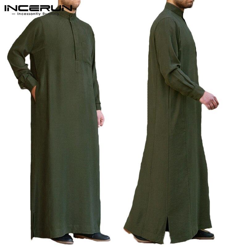 Мужской мусульманский исламский кафтан INCERUN, арабский винтажный халат с длинным рукавом, Jubba Thobe, свободный Дубай, Саудовский Арабский кафта...