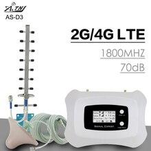 Atnj dcs/lte 1800mhzスマートフォンの信号リピータ 2 グラム/4 グラム 70dB利得バンド 3 信号ブースターアンプセルラーリピータブースター液晶ディスプレイフルセット