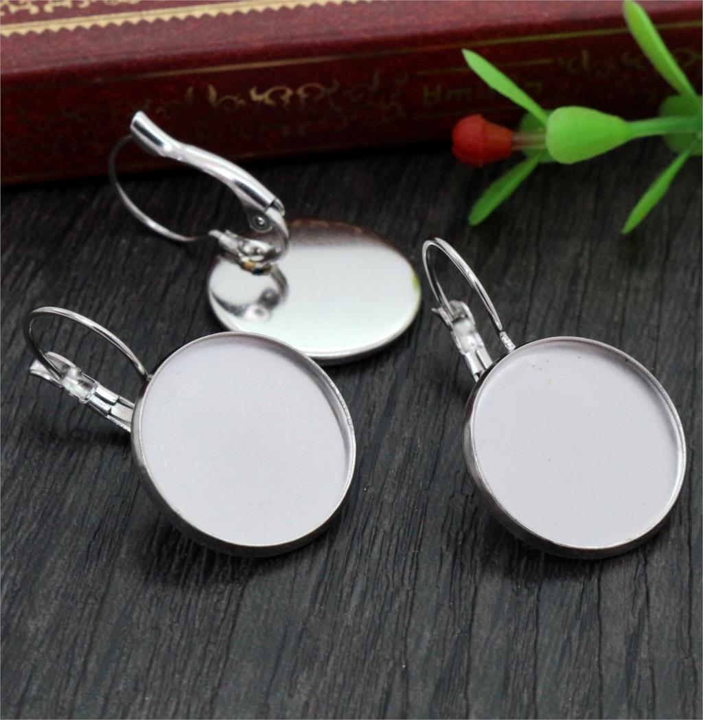 ( No Fade ) 18mm 10pcs Stainless Steel French Lever Back Earrings Blank/Base,Fit 18mm Glass Cabochons,Buttons-M3-19