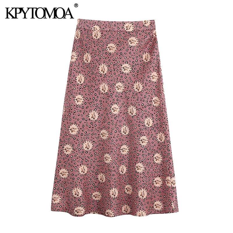 KPYTOMOA Women 2020 Chic Fashion Animal Print Skirt Vintage A Line Back Zipper Female Skirts Casual Faldas Mujer