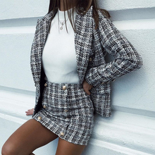 Mossha Elegant tweed skirts womens 2019 Autumn winter Straight plaid short skirt