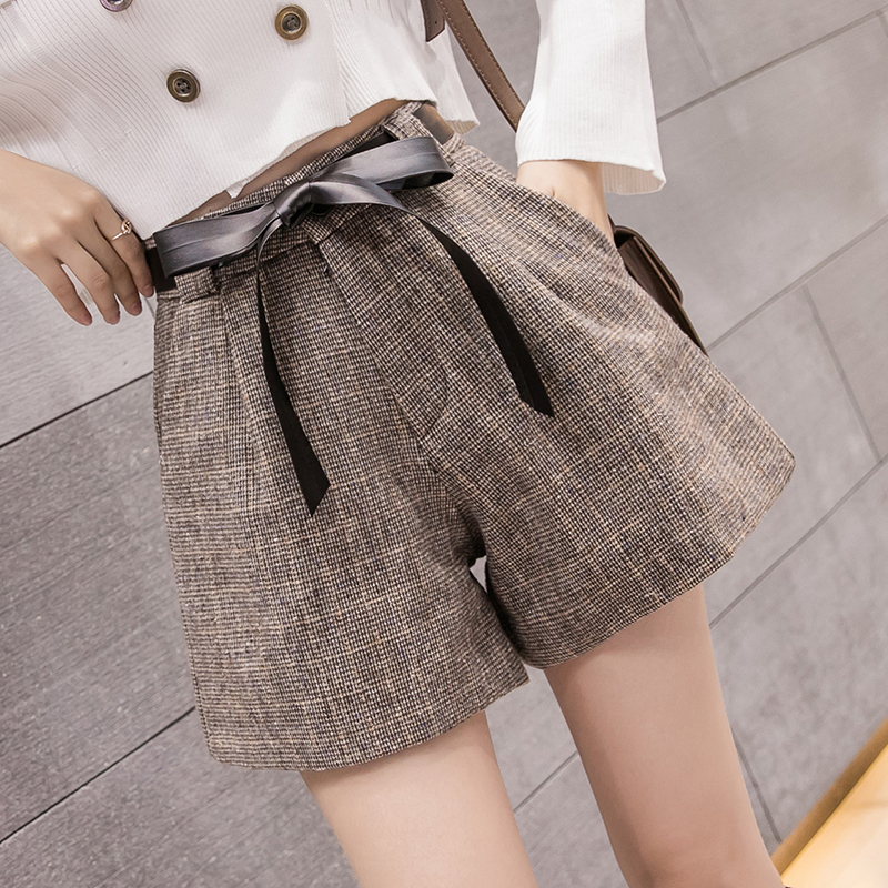 2019 Korean Cute Lace Up Bowknot High Waist Shorts Women Autumn Winter Woolen Plaid Wide Leg Shorts Female Casual Boot Shorts