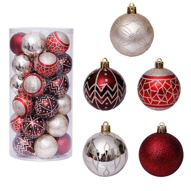 Фото 30 шт 6 см красочные блестящие рождественские шары 2020 натальные цена