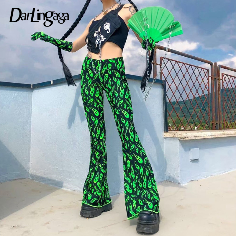 Darlingaga Streetwear Neon Flame Fire Print Flare Pants Festival Fashion Trousers Elastic High Waist Pants Women Bell Bottom New